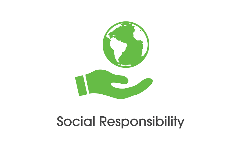 Who are the Geeks? Social Responsibility Logo.  This shows a earth behind help up by an open palm representing a care for earth.  The logo is green symbolising life and nature.